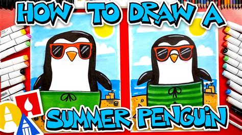 How To Draw A Summer Penguin Wearing Sunglasses And A