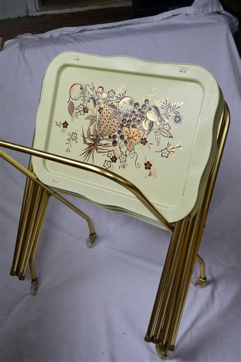 Vintage Lavada Metal TV Trays Set of 4 with Wheeled Stand